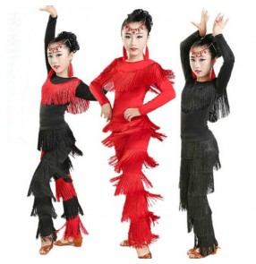 Girls long sleeves tops Rumba Fringe Pants Child Tassel Latin Dance Clothing Junior Salsa Ballroom Tango Cha Cha Dancing Clothes