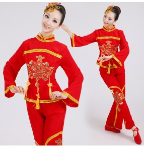 Red gold traditional chinese dance costumes women woman sleeve fan ancient  clothing national folk dance costume for woman
