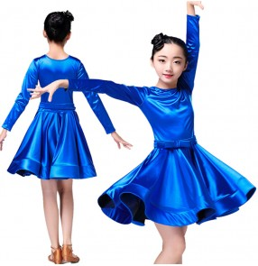 Blue child girl latino dancing kids costume latin salsa dress for children dancewear latina junior cheap dresses