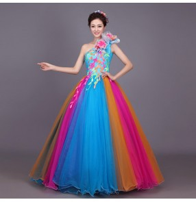 Rainbow colored flamenco performance cosplay Chorus Full skirted Dress Folk Dancing Women's Opening Stage Costumes Chorus Dress