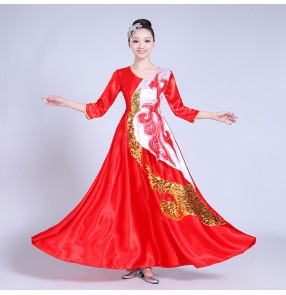 Red gold modern chorus cosplay flamenco skirt Spanish Senorita Flamenco Dancer Fancy Dress Costume Spanish Flamenco Dance
