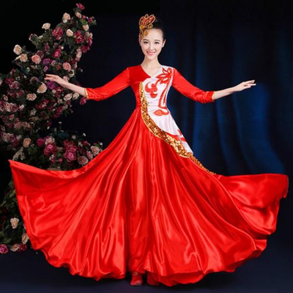 9967a920cfc7 Red gold modern chorus cosplay flamenco skirt Spanish Senorita Flamenco  Dancer Fancy Dress Costume Spanish Flamenco Dance