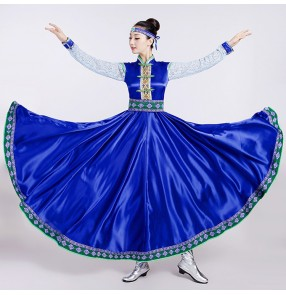 Folk dance Mongolian dance clothes female costume royal blue dresses Traje de baile mongol vestir