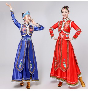 red royal blue Mongolia dress long sleeve Mongolian robe national dance costumes new year clothing festival dance costumes