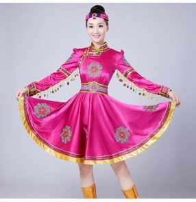 Fuchsia Women Tibetan Dance Dress National Mongolian Dance dresses Female Chinese Folk Dance Costume Stage Costumes for Singers