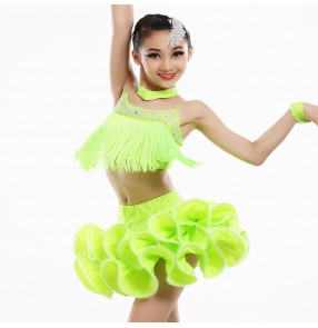 Neon green royal blue vestido latino para niños Latin Dance For Children Tassel Latin Competition Dancing Dresses Girls Latin top and Fringe Skirt
