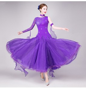 Royal blue red violet Women lace Standard Ballroom Dresses Long Sleeve Stretchy Dancing Costume Adult Waltz Ballroom Competition Dance Dress