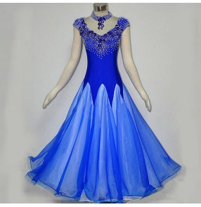 Royal blue Ballroom dance costumes senior stones sleeveless ballroom dance dress for women ballroom dance competition dresses