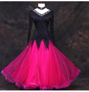 Hot pink black rhinestones competition standard ballroom dance wear ballroom dress woman waltz smooth ballroom dresses