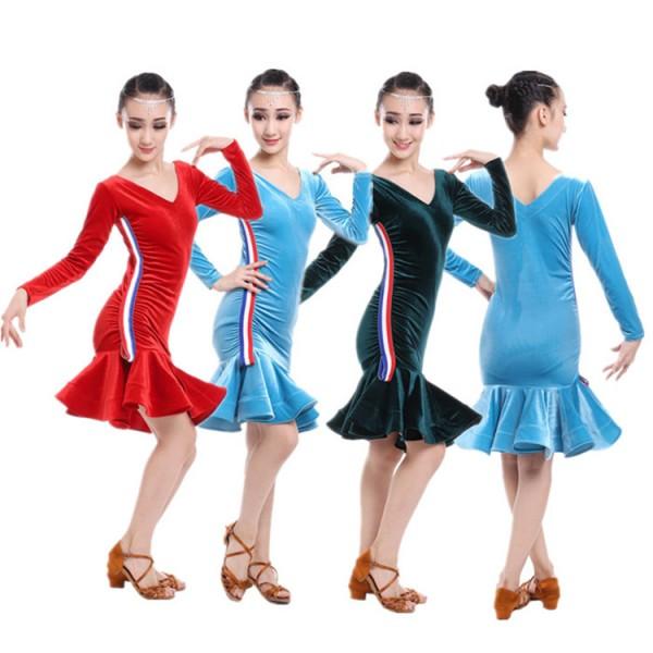 064cf2e40 child dance girls velvet striped long sleeves latino dancing dresses ...