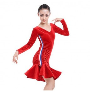 child dance girls velvet striped long sleeves latino dancing dresses kids costume ballroom latin salsa dress for children costumes