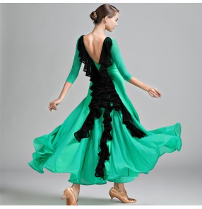 Green ginger yellow long sleeves backless professional competition Ballroom Standard Dance Dress vestido de danza de baile