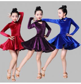 Velvet royal blue purple wine Child Latin Dance Dresses Kids Ballroom Dance Costume Vestido latino para niños Girls Modern Dance Dress Stage Dance Clothing