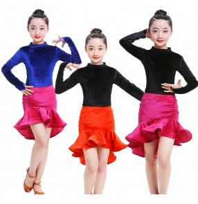 Black and red royal blue fuchsia velvet Kid Girls Latin Dance Dress Costumes Child Long Sleeve Ballroom Dance Costume Latin Dance Dress
