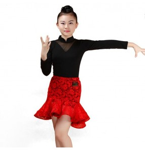 Red and black coffee Lace Child Latin Dance Dresses Kids Ballroom Dance Costume Girl Modern Dance Dress Stage Dance Clothing