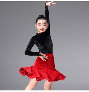 Black and red velvet Girls Kids Children Modern Latin Dance Dresses Salsa Tango Dance Wear Black Performance Stage Wear