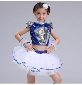 Silver royal blue Kids Jazz dance Outfit Clothing Child Boy Sequined Hip Hop Modern Dance Costume Jazz Dance Costumes Dress For Girls