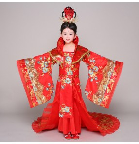 Red gold Girl Yangko Costume Traditional fairy princess palace dynasty queen cosplay performance Chinese Folk Dance Costume Dance Costumes