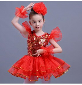 Red royal blue Children Girl Jazz Dance Girls Jazz Dance Costumes for Girls Kids Sequin Hip Hop Dancing Performance Jazz Costume For Girls