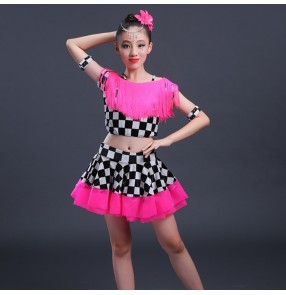 Fuchsia hot pin black and white plaid velvet tassels competition girls kids children performance  salsa latin  dance dresses outfits