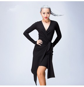 Black white Sexy Cheap long sleeves lycra Latin Dance Dress Women Professional Latin Skirt Samba Dance Latin Salsa Dresses