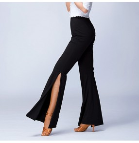 Black side split wide leg sexy fashion women's ladies female practice competition salsa cha cha rumba latin dance pants