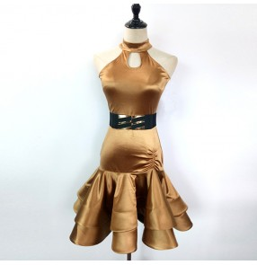 Gold shiny fashion sleeveless competition spandex women's female ladies salsa cha cha latin dance dresses outfits