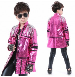 Fuchsia hot pink glitter leather rivet boys kids children competition fringes performance host jazz hip hop drummer cosplay singers dance costumes