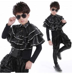 Silver black sequined long sleeves fashion competition boy's children drummer show performance jazz hip hop dance costumes outfits