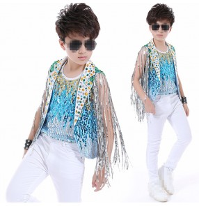 Blue turquoise sequined glitter competition stage performance model rehearsal party cosplay hip hop singers host dance costumes outfits set