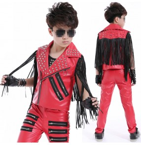 White red black leather fringes rivet fashion boy's kids children drummer dancers hip hop jazz performance competition dance outfits