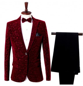 Wine red velvet floral long sleeves photos groomsman singers dancers host party performance dance blazers tops sets