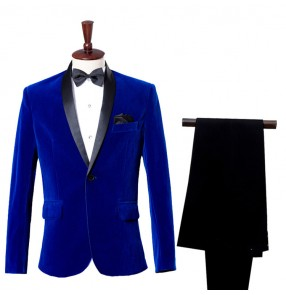 Wine red Royal blue velvet long sleeves fashion competition stage performance groomsman party cosplay singers dancers blazers dress suits sets