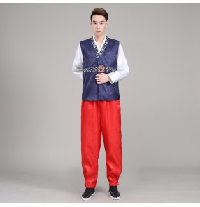 Men Hanbok anime cosplay Costume Top+pant+vest Korean Hanbok Male Korean Traditional Clothing Stage Dance Performance Costumes
