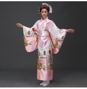 Pink red floral traditional anime  film party cosplay Japanese Kimono Vintage Tradition Silk Yukata Dresses with Obi robes