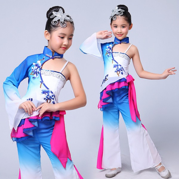221fd0f97 Blue gradient girls Chinese Folk Dance Costume Kids Stage Chinese ...