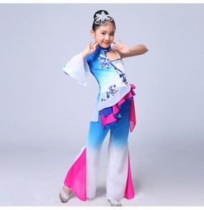 Blue gradient girls Chinese Folk Dance Costume Kids Stage Chinese Classical Fan Dance Costumes Yangko Dance for Child Umbrella Dance Clothing