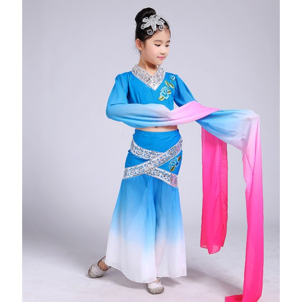 54b0d48f8e1 Children s classical dance girl traditional Chinese folk dance dresses film  performance fairy cosplay clothing Chinese fan dance oriental dance costumes