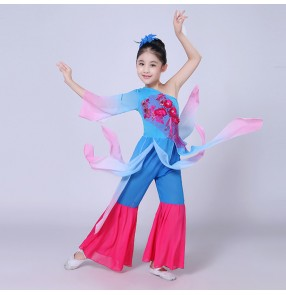 Fuchsia classical traditional Chinese folk dance dance costumes for children kids girls china national ancient yangko dance performance dress costumes