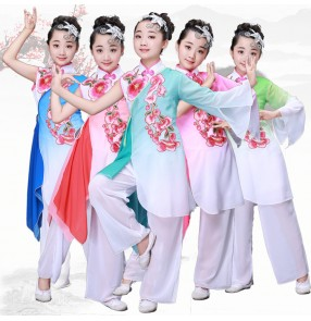 Children's traditional  Chinese Folk Yangko Dance Clothing National Fan Dance Costume Classical Folk Stage One-shoulder Dance Costumes outfits