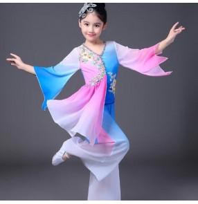 classical Girls traditional Chinese folk yangko fairy dance dance costumes for children kids girls china national ancient dress costume