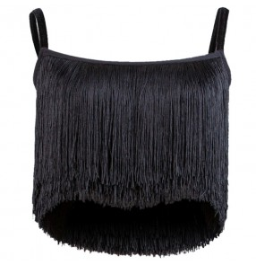 adult fringes Ballroom Costume Spaghetti Strap Sexy Latin dance top for women/female sleeveless performance wear