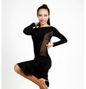 Adult women female ladies black long sleeves competition professional latin salsa samba cha cha rumba dance dresses