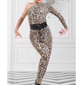 Adults Black leopard Latin dance gymnastics performance practice rompers Tights For Dance Women Dance one shoulder Bodysuit Leotard
