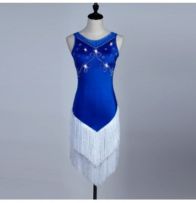 Royal blue  Stage competition Women Lady Latin Dance Dresses white Tassel Costume Made Performance Party Samba Feminina dance dress
