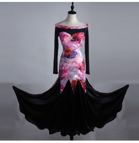 Rose black flamenco boat neck Ballroom dance costumes senior long sleeves competition ballroom dance dress waltz women dance dresses