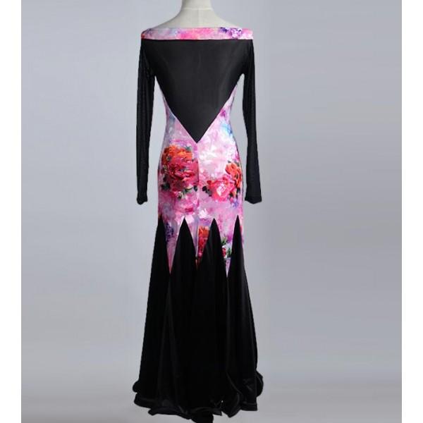 52c7918279d2 Rose black flamenco boat neck Ballroom dance costumes senior long sleeves  competition ballroom dance dress waltz women dance dresses