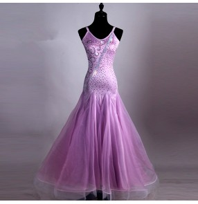 Light violet rhinestones competition Ballroom Dance Dresses sleeveless Flamenco Costume Women Cheap Stage Ballroom Dresses