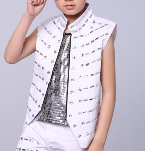White boy's Singer DS Dance Costume Wear Sequins  Veste Paillettes Jazz Dance Clothes Suit waistcoat