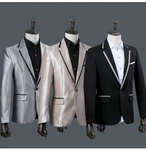 Silver black men male shiny blazer coat costume jacket outwear dance performance groom dress show party Christmas bar DJ DS prom
